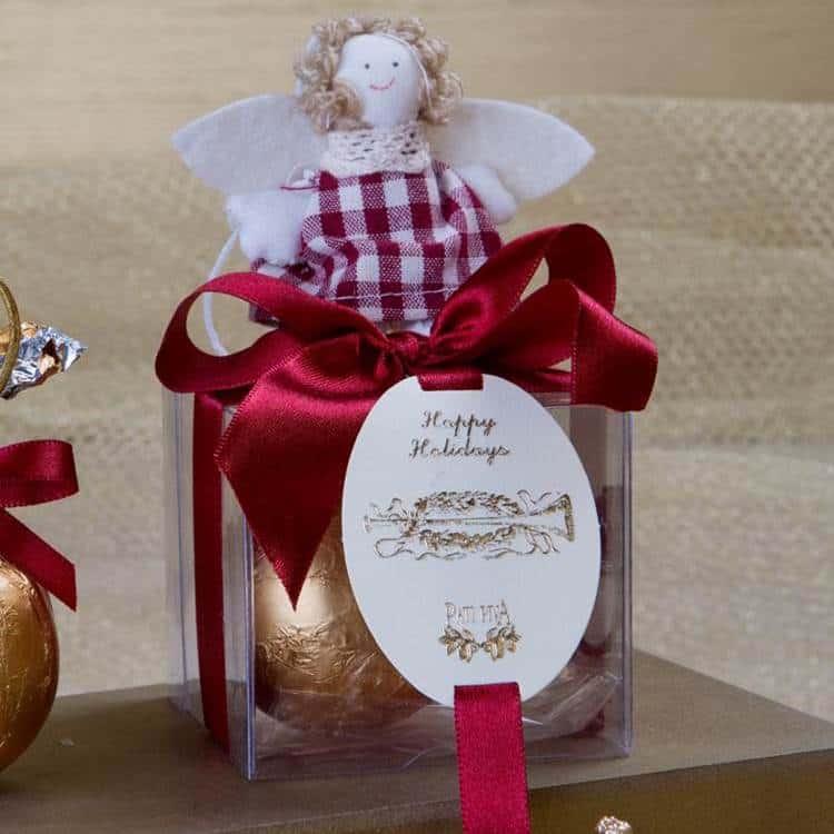Caixa com 1 bola transparente natal e anjinho22